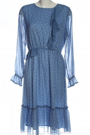 Gina Tricot Langarmkleid blau-weiß Allover-Druck Casual-Look