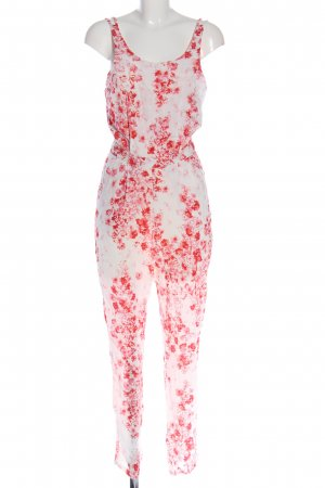 Gina Tricot Langer Jumpsuit weiß-rot Blumenmuster Casual-Look