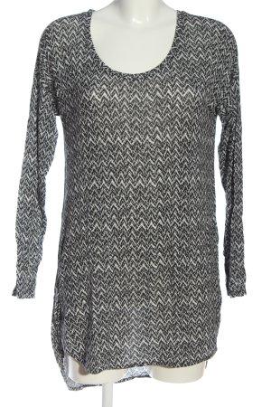 Gina Tricot Długa bluzka czarny-biały Abstrakcyjny wzór W stylu casual
