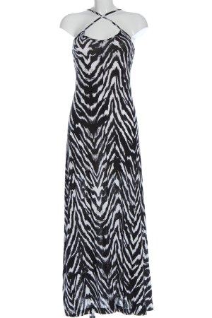 Gina Tricot Vestido largo blanco-negro estampado con diseño abstracto