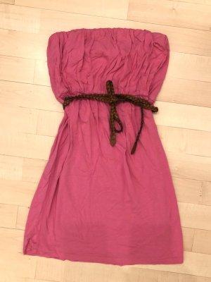 Gina Tricot Minikleid S 36 pink Gürtel bandeau trägerlos Top Kleid