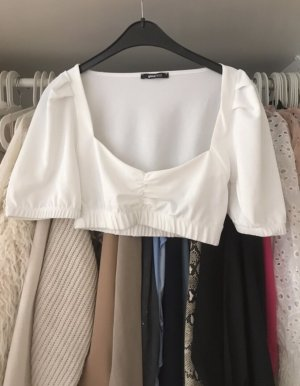 Gina Tricot Cropped top wit-wolwit Gemengd weefsel