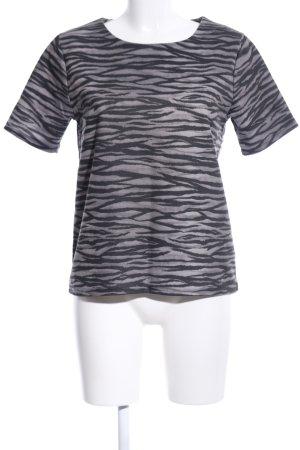 Gina Tricot Oversized Shirt hellgrau-schwarz Allover-Druck Casual-Look