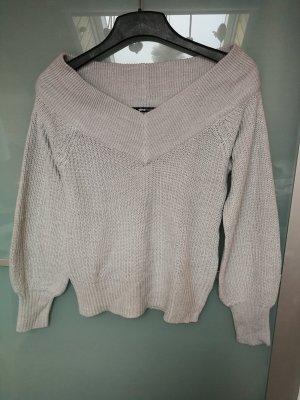 Gina Tricot Pullover Pulli grau Off-shoulder V-Ausschnitt