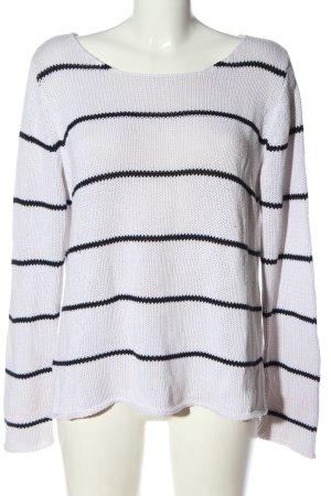 Gina Tricot Sweter z okrągłym dekoltem biały-czarny Wzór w paski