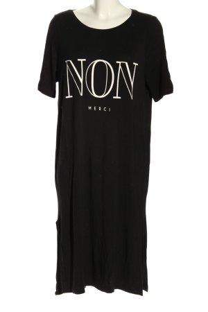 Gina Tricot Shirtkleid schwarz-creme Schriftzug gedruckt Casual-Look