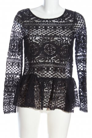 Gina Tricot Spitzenbluse schwarz grafisches Muster Casual-Look