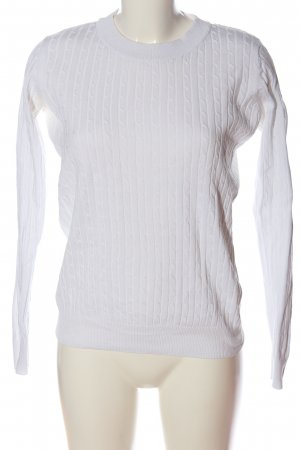 Gina Tricot Strickpullover weiß Zopfmuster Casual-Look