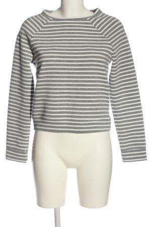 Gina Tricot Strickpullover hellgrau-weiß Streifenmuster Casual-Look