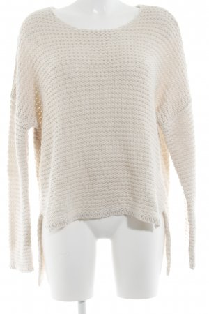Gina Tricot Strickpullover creme Fischgrätmuster Casual-Look