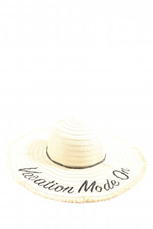 Gina Tricot Straw Hat cream embroidered lettering casual look