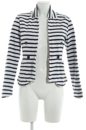 Gina Tricot Sweatblazer weiß-dunkelblau Streifenmuster Casual-Look