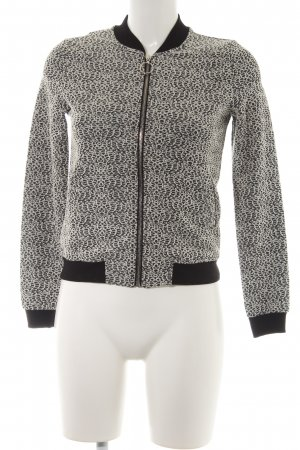Gina Tricot Sweatjacke schwarz-weiß florales Muster Casual-Look