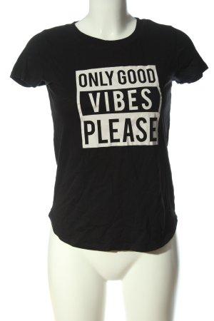 Gina Tricot T-Shirt schwarz-weiß Schriftzug gedruckt Casual-Look