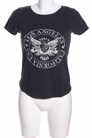 Gina Tricot T-Shirt schwarz-weiß Motivdruck Casual-Look