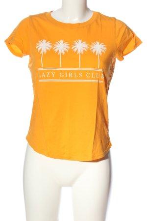 Gina Tricot T-Shirt blassgelb-weiß Motivdruck Casual-Look