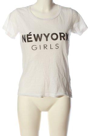 Gina Tricot T-Shirt weiß-schwarz Schriftzug gedruckt Casual-Look