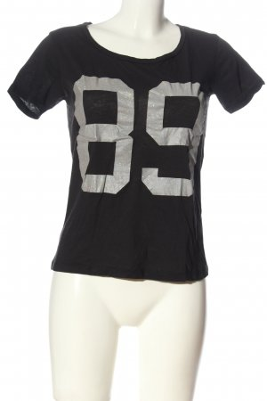 Gina Tricot T-shirt noir-gris clair lettrage imprimé style décontracté