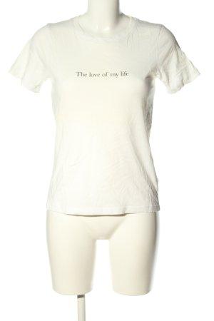 Gina Tricot T-Shirt weiß Schriftzug gedruckt Casual-Look
