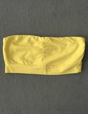 Gina Tricot Top z dekoltem typu bandeau żółty