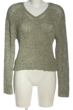 Gina Tricot Sweter z dekoltem w kształcie litery V zielony W stylu casual
