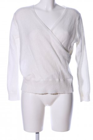 Gina Tricot Pull col en V blanc style décontracté