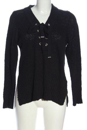 Gina Tricot V-Ausschnitt-Pullover schwarz Casual-Look