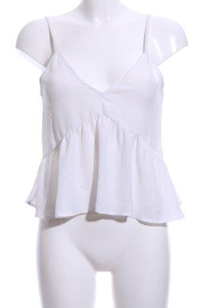 Gina Tricot Top con balze bianco elegante