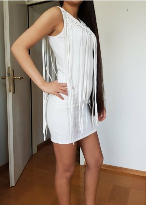 Gina Tricot Robe à franges blanc
