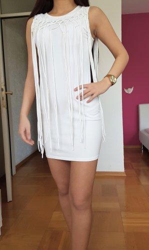 Gina Tricot Weißes Kleid mit Fransen Stickerei fransenkleid Sommerkleid Strandkleid