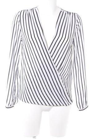 Gina Tricot Wickel-Bluse schwarz-weiß Streifenmuster Casual-Look