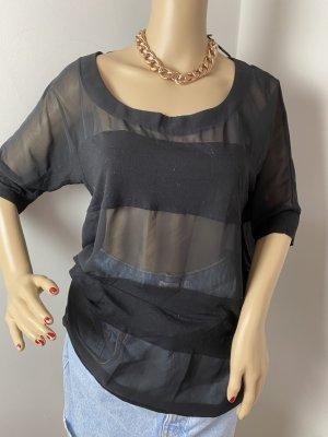 Gina Tricot Blusa Camisa negro tejido mezclado
