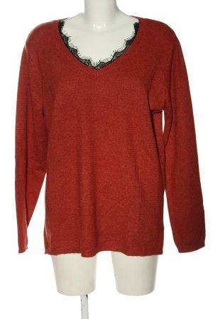Gina V-Ausschnitt-Pullover rot-schwarz meliert Casual-Look