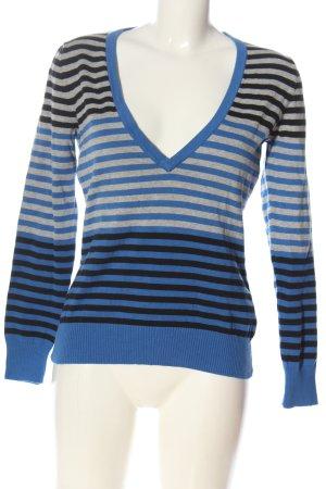 Gina V-Ausschnitt-Pullover Streifenmuster Casual-Look