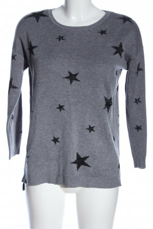 Gina Christmasjumper light grey-black themed print casual look