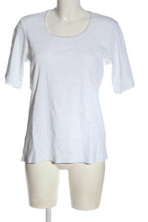 Ginalaura Koszulka z dekoltem w łódkę biały W stylu casual