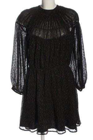GinaTricot Blusenkleid schwarz-bronzefarben Punktemuster Glanz-Optik