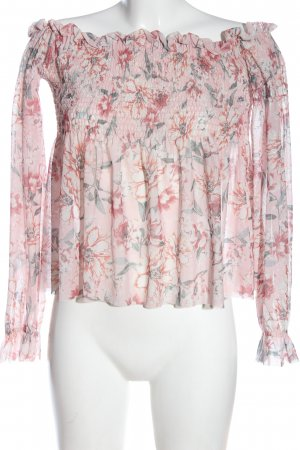 GinaTricot Carmen-Bluse pink-grün Allover-Druck Casual-Look