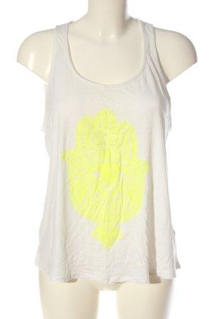 GinaTricot Haut dos-nu blanc-jaune primevère imprimé avec thème