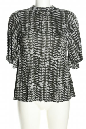 GinaTricot Stand-Up Collar Blouse light grey animal pattern casual look
