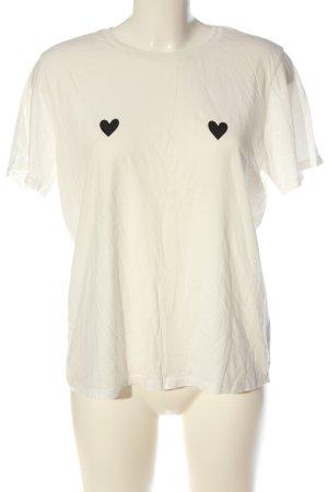 GinaTricot T-Shirt weiß-schwarz Motivdruck Casual-Look