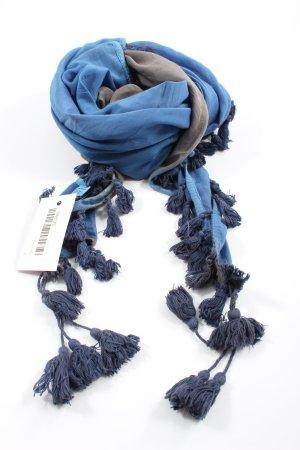 Gioia Sjaal met franjes blauw-lichtgrijs casual uitstraling