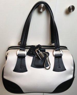 * GIORGIO ARMANI * HAND TASCHE & Pochette Leder schwarz  Seide weiß / ecru Schloss