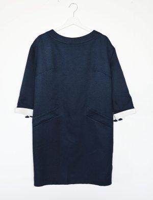Giorgio Armani Kleid Midi jaquard IT 46 DE 38 / 40 Seide Navy weiß