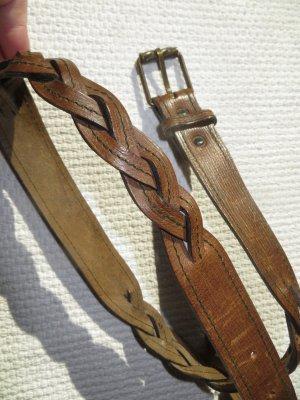 Giorgio  Armani Skórzany pasek brązowy Skóra