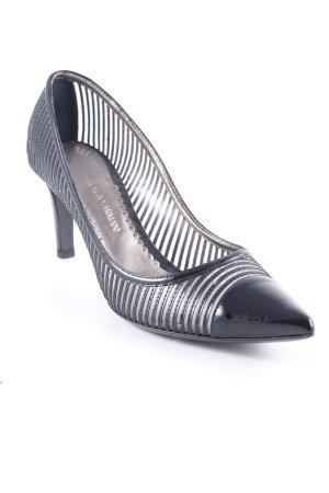 Giorgio  Armani Spitz-Pumps schwarz Streifenmuster Elegant