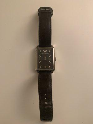 Giorgio  Armani Reloj con pulsera de cuero negro-color plata