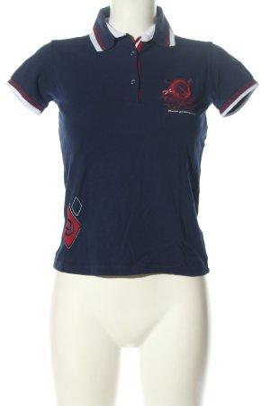 Giorgio di Mare Vintage Polo-Shirt blau-rot Schriftzug gedruckt Casual-Look