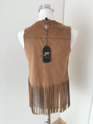 Gipsy Veste à franges marron clair