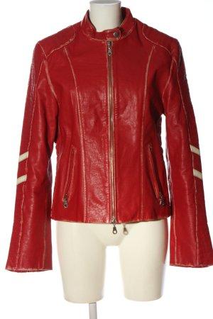 Gipsy Veste en cuir rouge-crème motif rayé style décontracté